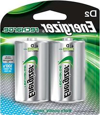 Energizer NH50BP2 NiMH Rechargeable Batteries, D, 2