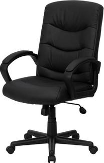 Executive Mid-Back Eco Friendly Black Leather Office Chair