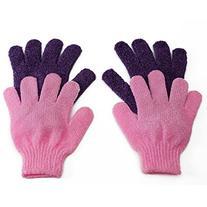 BelleSha Exfoliating Bath Gloves Pink and Purple 2 pairs