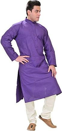 Exotic India Plain Khadi Kurta - Color Prism Violet Size 46