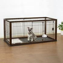 Richell Expandable Pet Crate with Floor Tray, Small, Dark