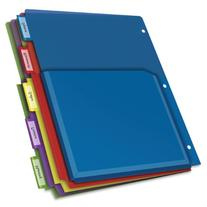 Cardinal Expanding Pocket Poly Divider, 5-Tab, Multi-Color