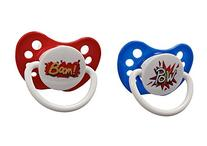 Ulubulu Expression Pacifier Set for Boys, Pow and Boom, 0-6