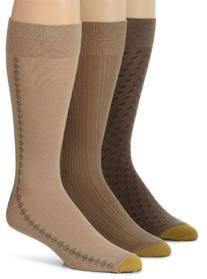 Gold Toe 3 Pack Mens Extended Size Fashion Socks, Dust/