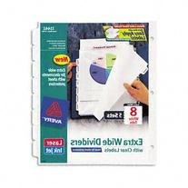 Avery Extra-Wide Dividers, Ink Jet Printer, White, 8-Tab, 9