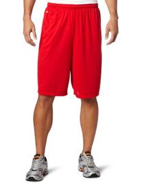 Soffe Men's Extra Long Poly Closed Hole Mesh Short Red X-