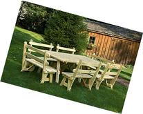 8 Ft Extra Wide Pressure Treated Pine Picnic Table with 4-
