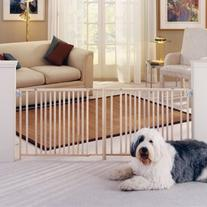 North States My Pet Extra Wide Swing Pet Gate, Natural Wood
