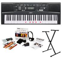 Yamaha EZ220 61 Lighted Key Portable Keyboard Bundle with X-