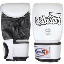 Fairtex Muay Thai Bag Glove, White/Black, Regular