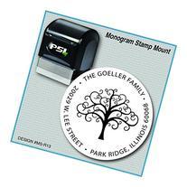Fancy Swirl Tree Return Address Stamp, Monogram Stamp,