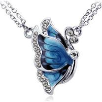 TOPSTARONLINE Faux Diamond Studded Blue Butterfly Pendant