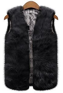 QZUnique Women's Plus Faux Fur Vest Coat Jacket Waistcoat