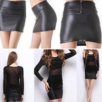 Weixinbuy Women's Faux Leather Zip High Wasit Mini Skirt 3XL