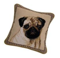 Fawn Pug Portrait 100% Wool Needlepoint Dog Pillow 10