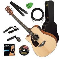 Yamaha FGX700SC Guitar STAGE BUNDLE w/ Hard Case, Capo &