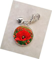 Field Of Poppy Red Flowers .925 Sterling Silver Charm