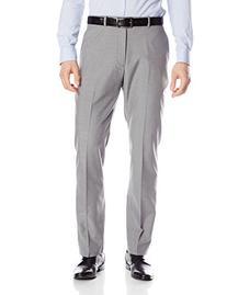Perry Ellis Men's Fine Stripe Dress Pant, Alloy, 32x30