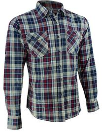 Enimay Mens Fitted Plaid Long Sleeve Button Down Shirt Khaki