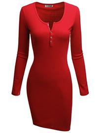 Doublju Fitted Ribbed Knit Bodycon Henley Dress  RED MEDIUM