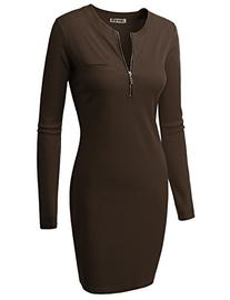 Doublju Fitted Ribbed Knit Zipper Front Mini Dress  BROWN