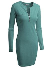 Doublju Fitted Ribbed Knit Zipper Front Mini Dress  SKYBLUE