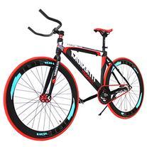 Vilano Fixed Gear Bike Fixie Single Speed Road Bike, Blue/