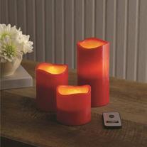 Better Homes and Gardens Flameless LED Pillar Candles, 3pk,