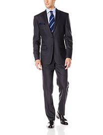 Vince Camuto Men's Flannel Two-Button Suit,Charcoal,40x34
