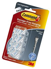 Command Flat Cord Clips, Clear, 4-Clip, 6-PACK