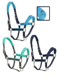 Fleece Cushion Breakaway Halter Cob Grey/Aqua
