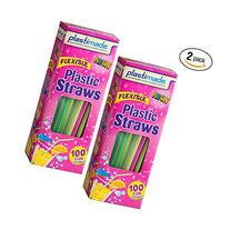 Plastimade Flexible 100 Count Disposable Colorful Drinking