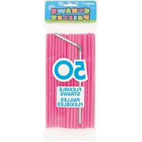 Unique Flexible Pink Plastic Drink Straws, 50 Count