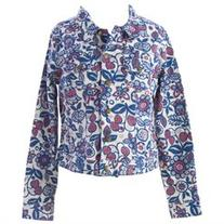 BODEN Women's Floral Denim Jacket US Sz 10 Blue/White