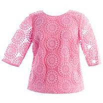 BODEN Women's Floral Embroidered Organza Top US Sz 4 Pink