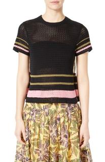 Women's Red Valentino Floral Print Back Crochet Sweater,