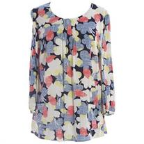 BODEN Women's Floral Print Pocket Top US Sz 12 Multicolored
