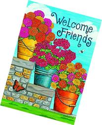 """Flower Bucket - Welcome Friends"" - Summer - Garden Size, 12"