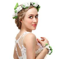 Valdler Foam Paper Rose Flower Crown with Floral Wrist Band