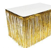 GIFTEXPRESS Set of 2, Gold Metallic Fringe Table Skirt/Gold
