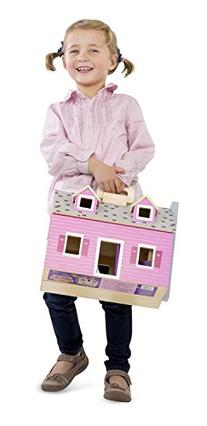 Melissa & Doug Fold and Go Wooden Dollhouse With 2 Dolls and