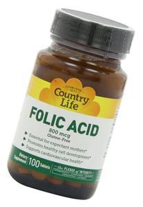 Folic Acid 800mcg Gluten-Free - Country Life - 100 - Tablet