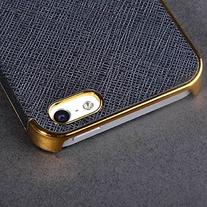 Frame Luxury Leather Chrome Hard Back Case Cover for Iphone