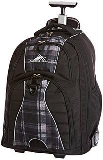 High Sierra Freewheel Wheeled Backpack, Black/Slate Plaid,