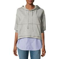 3.1 Phillip Lim French Terry & Striped Poplin Hooded