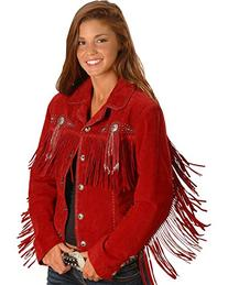 Scully Women's Fringed Suede Leather Jacket Red Small