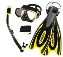 Cressi Frog Plus Fin Focus Silicone Mask Dry Snorkel Set -