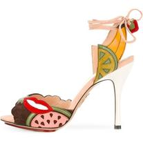 Charlotte Olympia - fruit patch heeled sandals - women -