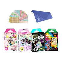 Fujifilm Instax Mini Film 4 Pack Bundle! Rainbow, Comic,