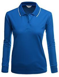 Womens Functional Coolmax Collar long Sleeve Top DEEPBLUE